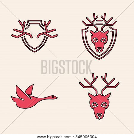 Set Deer Head With Antlers, Deer Antlers On Shield, Deer Head With Antlers On Shield And Flying Duck