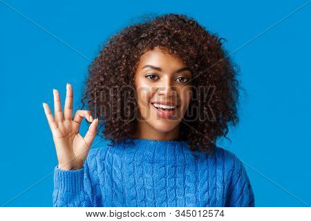 Alright, All Great. Satisfied Good-looking African-american Female Customer, Rate Good Service, Give