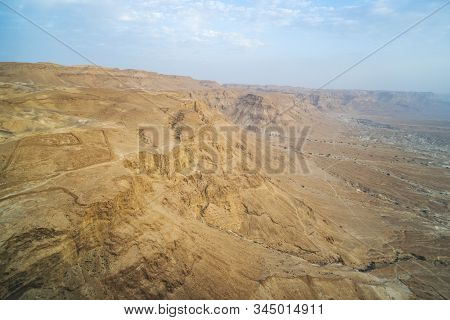 Scenic View Of Mountain Plateau In Judean Desert, Israel. Panorama Of Lifeless Cliffs In Desert. Mou