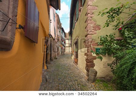 Street in the historical village Riquewihr