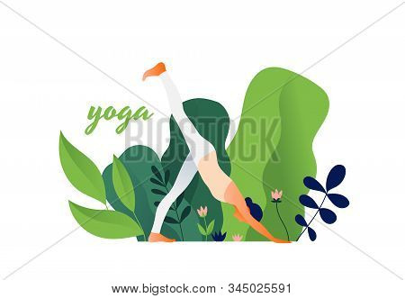 Woman Practicing Yoga Exercise, Yoga Pose. International Yoga Day.