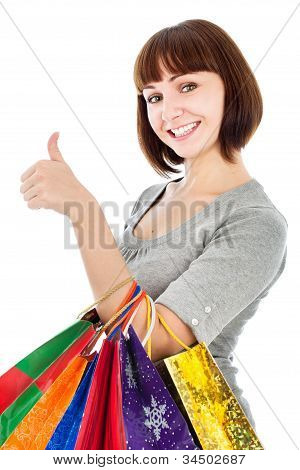 Woman With Shopping Bags Make Her Thumbs Up