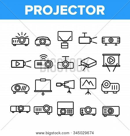 Projector Equipment Collection Icons Set Vector Thin Line. Electronic Device Video Projector And Pro