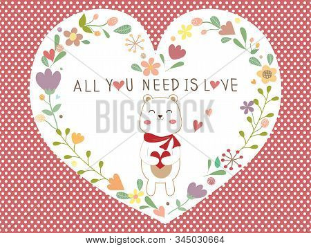 Beautiful Valentines Day Card On Red And White Polka Dot Background. Valentine Colorful Flower Heart