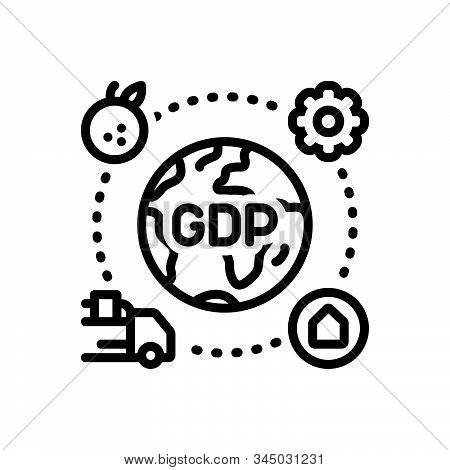 Black Line Icon For Gdp Domestic Product Market Service Goods