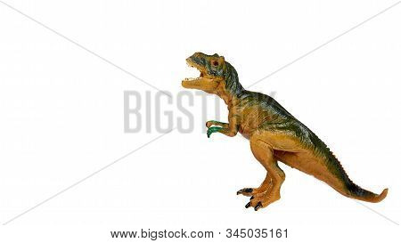 Rubber Dinosaur Toy. Prehistoric Wild Animal, Danger Beast.