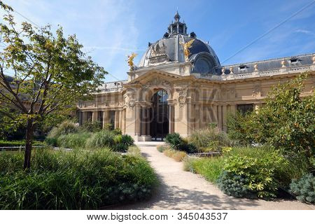 Paris, France - September 14, 2019: Courtyard of Petit Palais. Built for 1900 Paris Exposition, now the Beaux-Arts style palace houses the City of Paris Fine Art Museum
