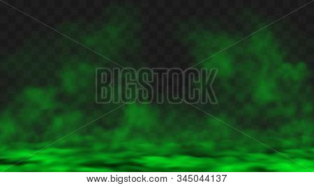 Green Smog Or Fog Clouds Spreads On Ground. Stink Bad Smell, Smoke Or Poison Gases. Vector Realistic