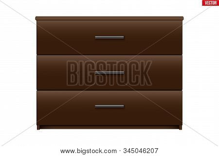 Brown Chest Of Drawers. Model With Three Drawers. Brown Color. Sample Furniture Interior Element. Ve