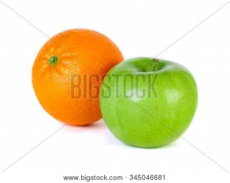 Green Apple And Orange Isolated On White Background