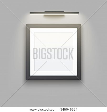 Sample Picture Square Frame With Led Light. Gallery Interior Element Mockup With Backlight. Black Fr