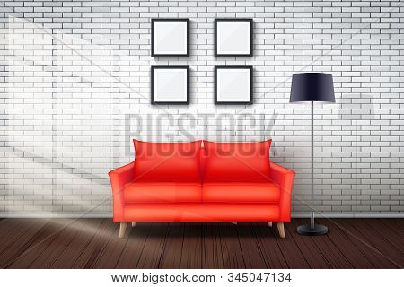 Interior Of Living Room And Loft. Red Sofa And Vintage Floor Lamp With Sunlight. White Bricks And Wo