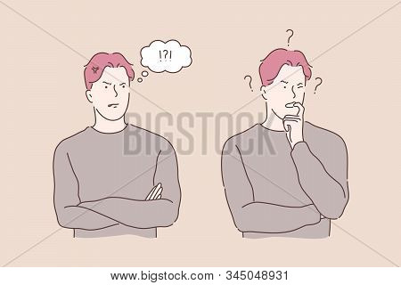 Problem, Speech Bubble, Stress, Thinking Set Concept. Young Man Has Business Problem, Exclaims In Sp