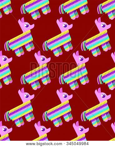 Pinata Pattern Seamless. Traditional Mexican Donkey Toy With Sweets Inside. Vector Texture