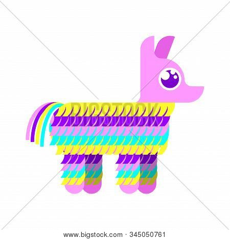 Pinata Isolated. Traditional Mexican Donkey Toy With Sweets Inside. Vector Illustration