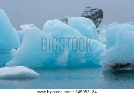 Melting Floating Icebergs In Jokulsarlon, Iceland