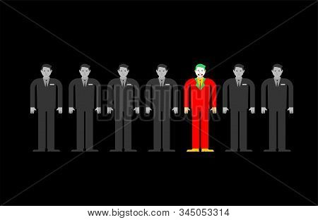 Individuality In Gray Crowd. Man In Bright Suit In Group People. Contrasting Individual Concept