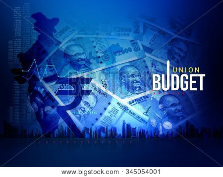 India Union Budget, India Economy, Finance Background, Indian Rupee Blue Abstract Background, Illust