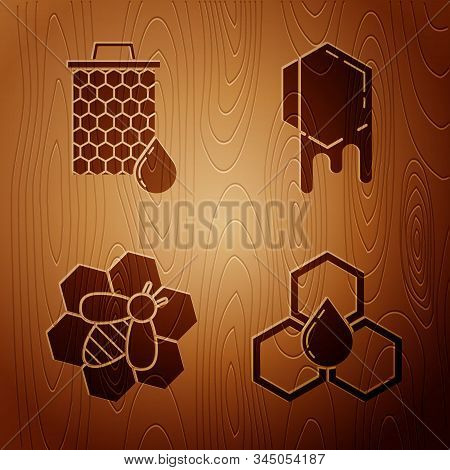Set Honeycomb, Honeycomb, Bee And Honeycomb And Honeycomb On Wooden Background. Vector
