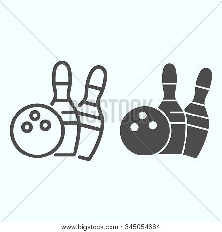 Bowling Line And Solid Icon. Bowling Activity Vector Illustration Isolated On White. Skittles And Ba