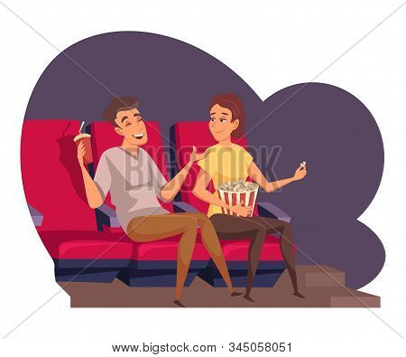 Young Couple At Cinema Flat Vector Illustration. Friends Watching Movie And Laughing Cartoon Charact