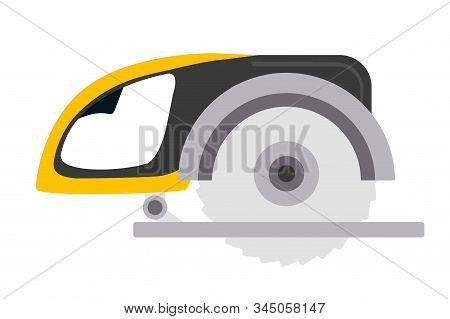 Rotary Saw Flat Vector Illustration. Electric Buzz Saw Isolated On White Background. Professional Bu