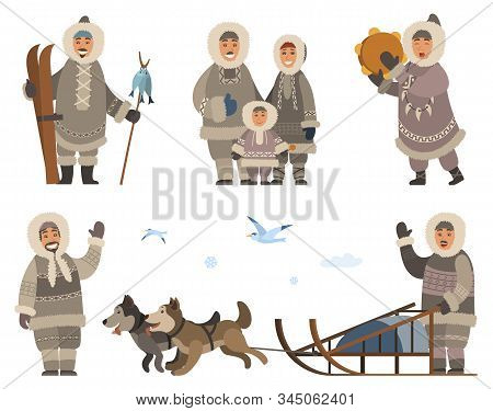 Set Of Inuits Wearing Traditional Warm Clothes. Isolated Eskimos People Family Mother, Father And Ki