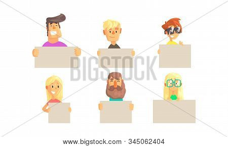 People Holding Blank Banners Collection, Funny Characters Demonstrating Empty Placards Vector Illust