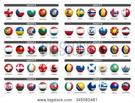 European Soccer Tournament Qualifying Draw 2020 . Group Of International Teams . 3d Football With Co