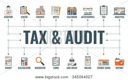 Auditing, Tax, Accounting Horizontal Banner With Two Color Flat Icons Auditor, Magnifying Glass, Fin