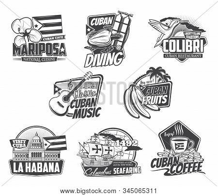 Cuba Havana Travel, Caribbean Cuisine Food Cafe And Cuban Coffee Sign. Vector Sea Diving Sport Club,