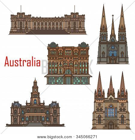 Australia Architecture, Cathedral Buildings And Sydney Famous Landmarks. Vector St Patrick And Paul