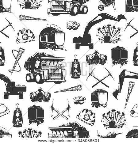 Coal Production, Mining Industry And Miner Equipment Tools Seamless Pattern. Vector Background Of Ma