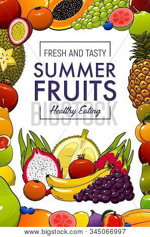 Tropical Fruits, Farm Market Organic Natural Healthy Food. Vector Exotic Summer Fruits Harvest, Bana