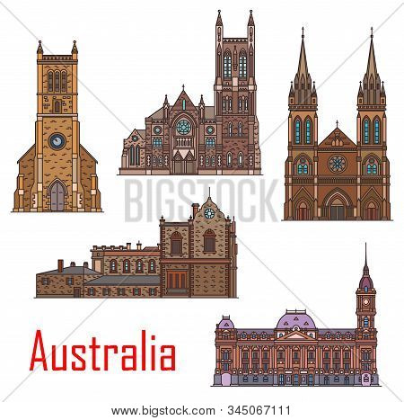 Australia Architecture, Sydney, Adelaide And Melbourne City Buildings And Landmarks. Vector St Peter