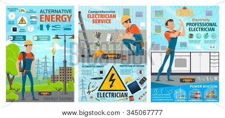 Electrician, Electric Worker Service On Power Station And House Electricity Repair. Vector Electrici