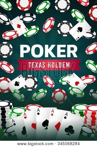 Casino Poker Game, Professional Texas Holdem Gamble Game And Jackpot Win. Vector Online Casino And W