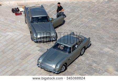 Matera, Italy - September 15, 2019: Bond 25, Aston Martin Db5 Cars Prepared To Shoot Chase Scenes Fr