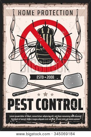 Fly Insects Pest Control Service, Domestic Bugs And Moths Extermination And Home Disinsection Vintag