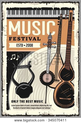 Live Music Festival, Folk Sound Band Concert Hall Performance Poster. Vector Music Instruments, Pian