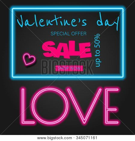 Valentine's neon, valentine 'sday, Valentine's Day background, Valentine's day banners, Valentine's Day flyer, Valentines Day design, Valentine's Day with Heart on black background, Copy space text area, vector illustration.