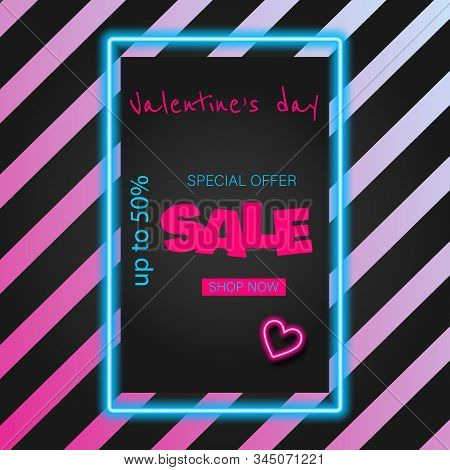 Valentine's Day Sale banner. Valentine's neon, valentine day, Valentine's Day background, Valentine's day banners, Valentines Day flyer, Valentines Day design, Valentines Day with Heart on black background, Copy space text area, vector illustration.