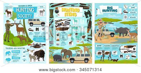 Hunting Equipment And Hunt Animals Infographic Diagrams And Information Statistics. Vector African S