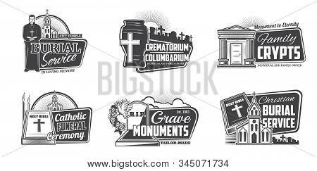 Funeral Service, Cremation Columbarium And Burial Ceremony Organization Agency Icons. Vector Funeral
