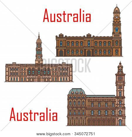 Australia Architecture, Adelaide And Melbourne Municipal City Buildings And Historic Landmarks. Vect