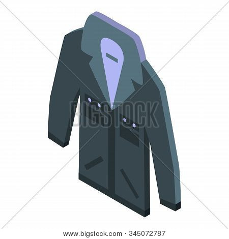 Black Jeans Jacket Icon. Isometric Of Black Jeans Jacket Vector Icon For Web Design Isolated On Whit