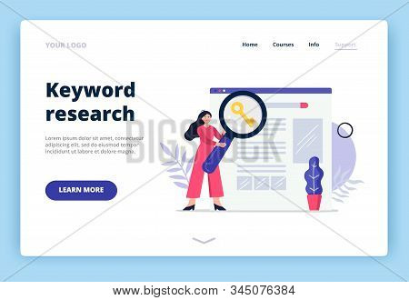 Cute Landing Page Template On Search Engine Optimization Theme. Girl With Magnifying Glass Searching