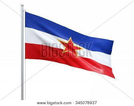 Yugoslavia (1946-1992) Flag Waving On White Background, Close Up, Isolated. 3d Render