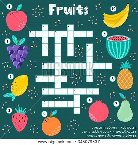 Crossword Puzzle Game Of Fruits For Kids