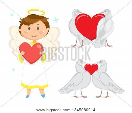 Angelic Child Vector, Male Wearing Long Robe Holding Heart In Hands. Valentines Day Celebration And
